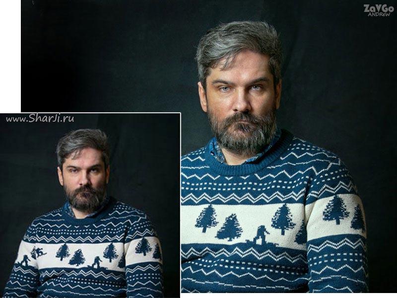 портрет до и после обработки в фотошопе