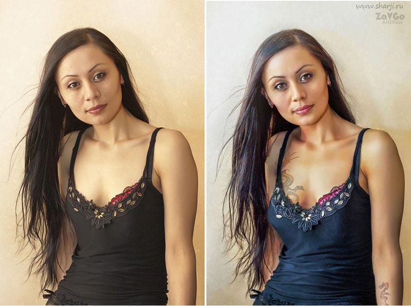 фотосессия портрет до и после