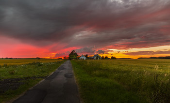 По дороге домой, деревня Лисбю. / Пламя заката в деревне Лисбю. Дания.