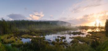 Закат на северных болотах / Кольский по-ов, по пути к г. Кировск