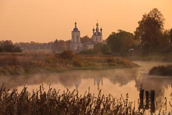 Осенние отражения... / Успенский монастырь. Река Теза. Дунилово. Ивановская область.
