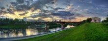 |   Панорама заката над Кировским мостом   | / 4 горизонтальных кадра http://www.panoramio.com/photo/22880186