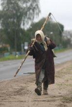 Сельский труд / Пожилая женщины несет косу по деревенской дороге.