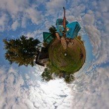 """Планета МТЗ / Трактор """"Беларусь"""" Сферическая панорама в проекции маленькая планета EOS 450D, EWP Fisheye Lens МС 8mm f/3.5, PTGui Рекомендуется просмотр во флеше. http://fertilizermods.elteh.org/panorama/trash/tractor.html"""