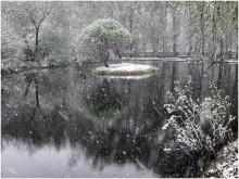 Снег идет / снегопад в городском парке