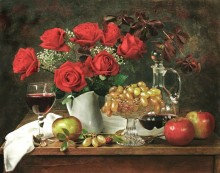 Цветы и фрукты / Букет роз на столе с фруктами - яблоками и виноградом