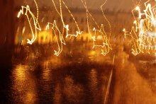 танец ночных огней / съемка без фокусировки набережной в свете фонарей Санкт-Петербург