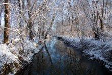 Речка зимой / Зима,речка,иней