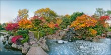 London. Evening in Holland-Park / А quiet colorful autumn evening in the Kyoto Garden in Holland Park, one of the most romantic and peaceful place of West London, and fall is the best time to explore this beautiful city...  This artwork is also available in the spherical panorama technique here: https://www.360cities.net/profile/awesome/image/london-evening-in-holland-park The native resolution 8391 x 4160px is available by special request.   Shooting and processing method: stitching panoramic, 2 rows of 8 photos with overlapping, HDR from 5 steps exposure bracketing.