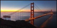 Золотые ворота / Вид на мост и залив Золотые ворота. Панорама из 4х вертикальных кадров
