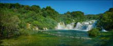 """Хорватия. Парк КРКА / Основной """"туристический символ"""" парка КРКА. Снято в июне 2008 г., стоит засуха и водопад """"работает"""" в пол-силы. Это 5% ресайз панорамы из 174 кадров (вилка экспозиции 3 кадра)."""