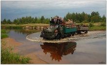 За черникой! / Более чем 20000 жителям Украины разрешен упрощенный проезд на прилегающую территорию Беларуси летом 2012 года для сбора ягод. В июле обширные леса с огромными болотными массивами Столинского и прилегающих территорий Лельчицкого районов наполнены сборщиками ягод (в основном черники) из соседнего государства. Передвижение идет по лесным и болотным дорогам транспортом с повышенной проходимостью. Иногда - таким образом.  На фото: грузовик ЗИЛ-131 со сборщиками черники пересекает реку Ствига на границе Лельчицкого и Столинского районов