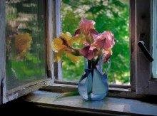 Утро с ирисами / на окне
