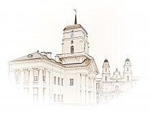 Ратуша / Минская городская ратуша - символ самоуправления Минска (получил магдебургское право 14 марта 1499 г.) - была построена в 1600 году. На ратушной башне находились часы, что для того времени было большой ценностью. До отмены российскими властями магдебургского права для Минска (14 мая 1795 г.) здесь проходили заседания магистрата, хранились эталоны единиц веса и объема. В конце XVIII в. перестроено в стиле классицизма (арх. Ф. Крамер). Здание было разрушено в 1857 г. по указу Николая I. Восстановлено в 2004 г. по архитектурному проекту С. Багласова. На башне с флюгером высотой 32 метра установлены часы и герб города. Каждый час куранты отбивают фрагмент мелодии (19 секунд припева) из «Песни про Минск» композитора Игоря Лученка. (C) Википедия