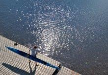 Утро на гребной базе / река Пина, гребная база