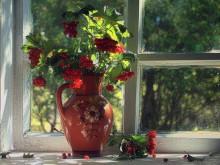 Кувшин с калиной / на деревенском окне