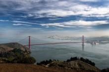 взгляд на город / залив и мост Золотые Ворота, Сан-Франциско