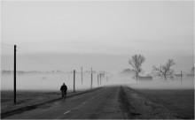 Деревенское утро / Раннее утро. Работница фермы спешит на работу.