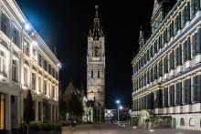 Ночной Белфорт, Гент. / Вид на Белфорт в г. Гент, Бельгия