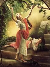 """Без названия / по картине К.П.Брюллова """"Девушка, собирающая виноград в окрестностях Неаполя"""""""