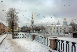 Зимний вид с голубями... / Вид на Крюков канал и Никольский Морской собор