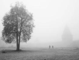 Прогулка в тумане / Туманное осеннее утро около Смоленской крепостной стены
