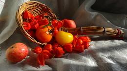 Щедрой осени дары.... / Осень — рыжая подружка Тихо в гости к нам пришла И в подарок добрым людям Фрукты, овощи взяла.