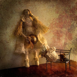 Дачница / интерьерная кукла-тильда. Фотоимпрессионизм