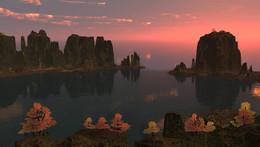 В тихой бухте... / на закате