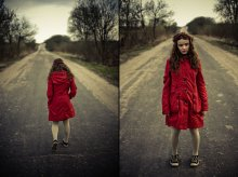 red coat on the road / .............