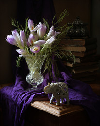 Натюрморт с Colchicum autumnale / Натюрморт с цветами - безвременниками и резным слоником