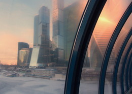 Москва Спираль времени / Москва,Москва-река,зима,восход,холодно