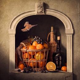 Корзина с апельсинами / классический натюрморт в нише в голландском духе