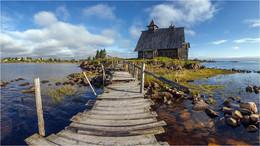 / Главная достопримечательность Рабочеостровска, мимо которой не проходит не один турист из отплывающих на Соловки, это церковь, которая была построена для съемки фильма Остров Павла Лунгина.
