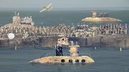 In the land of submarines / была такая песня Yellow Submarine у The Beatles. коллаж, понятно. собрано в corel painter