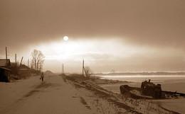 Утро на Ангаре / Ч\Б фотоплёнка 90-года
