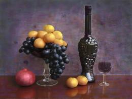 Фруктовое настроение. / Натюрморт из фруктов и изделий из стекла.