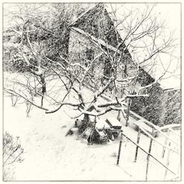 Снежный день / Снег. Дом. Дерево.