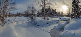 Февраль в природе...речка муж... / природа Вологодчины в феврале...
