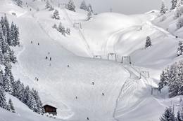 Без названия / Один из склонов горнолыжного курорта Ридеральп в Швейцарии. Очень много снега.