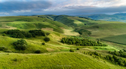 Кавказские холмы / Тосканские пейзажи под Нальчиком, Кабардино-Балкария. Дронопанорама