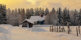 Зимний вечер / Финский хутор холодной зимой.