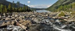 Шумы на Мультинском озере. / Алтай. Шумы. Вода перетекает в Первое Мультинское озеро.