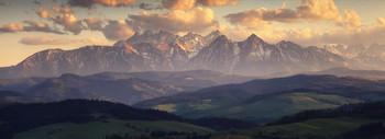Татры / Панорама Бельянских Татр, конец апреля.