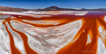 Вены земли / Дронопанорама Лагуны Колорадо (Красного озера), дома для 67000 фламинго. Расположено в высокогорной пустыне Альтиплано на высоте 4300 м. Национальный парк Эдуардо Авароа, Боливия