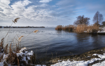 Зимний пейзаж с озером / Озеро Лиман Харьковская область. Декабрь 2018.