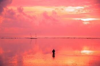 Розовое утро / Утро на берегу океана...