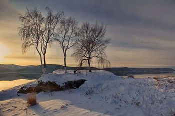 И наступает вечер...нет-не зимний. Осень / Вот такая осень в Сибири. Ангара, середина ноября.