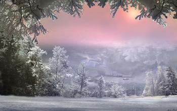 Январь / Январь,деревня,снег,сани