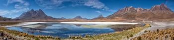 Красная Лагуна и Пятицветные горы (Панорама) / Высокогорная пустыня Альтиплано, Боливия